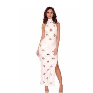House of Cb, white maxi bandage dress